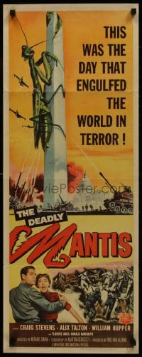 1p086 DEADLY MANTIS insert 1957 classic art of giant insect on Washington Monument by Ken Sawyer!