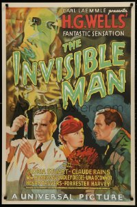 1p029 INVISIBLE MAN S2 Re-Creation 1sh 1999 James Whale, Claude Rains, H.G. Wells, best artwork!