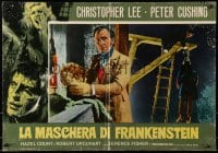 1p232 CURSE OF FRANKENSTEIN Italian 19x27 pbusta R1970 great image of Peter Cushing and man hanged!