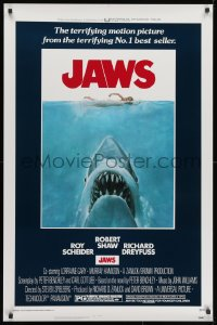 1p134 JAWS 1sh 1975 classic man-eating shark attacking swimmer art, unfolded & excellent condition!