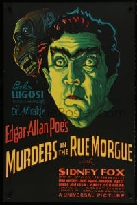 1p031 MURDERS IN THE RUE MORGUE S2 Re-Creation 1sh 2000 great art of spookiest Bela Lugosi & ape!
