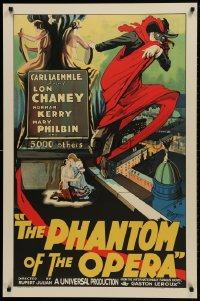 1p033 PHANTOM OF THE OPERA S2 Re-Creation 1sh 2000 Leroux, great artwork of Lon Chaney Sr.!