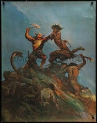 1p044 FRANK FRAZETTA 18x23 art print 1974 fantasy art of a huge fight and creatures, Indomitable!