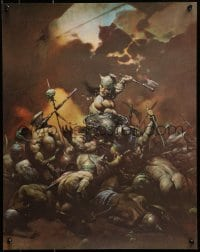 1p043 FRANK FRAZETTA 18x23 art print 1970s fantasy art of a huge fight and creatures, Destroyer!