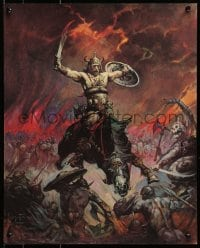 1p038 FRANK FRAZETTA 16x20 art print 1967 fantasy art of a huge fight and creatures, Berserker!