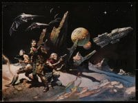 1p037 FRANK FRAZETTA 15x20 art print 1978 Attack, sci-fi fantasy art for Battlestar Galactica!