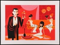 1p004 SHAG'S UNIVERSAL MONSTERS signed #26/150 18x24 art print 2013 Dracula drinking w/sexy ladies!