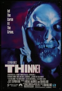 1p048 THINNER 27x40 video poster 1996 Stephen King, Robert John Burke, cool horror images!