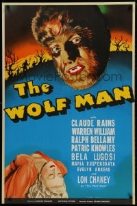 1p030 WOLF MAN S2 Re-Creation 1sh 2000 artwork of Lon Chaney Jr. in the title role as the monster!