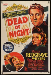 1r002 DEAD OF NIGHT Aust 1sh 1948 Ealing, ventriloquist Michael Redgrave, Googie Withers, rare!