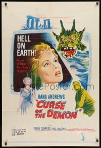 1r001 NIGHT OF THE DEMON Aust 1sh 1957 Jacques Tourneur, different art of the wacky monster!