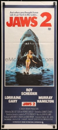 1r004 JAWS 2 Aust daybill 1978 art of giant shark attacking girl on water skis by Lou Feck!