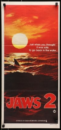1r005 JAWS 2 teaser Aust daybill 1978 classic art of man-eating shark's fin in red water at sunset!
