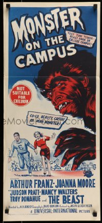 1r006 MONSTER ON THE CAMPUS Aust daybill 1958 art of beast amok at college!