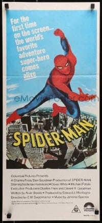1r007 SPIDER-MAN Aust daybill 1977 Marvel Comic, great art of Nicholas Hammond as Spidey!