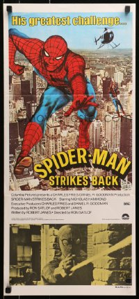 1r008 SPIDER-MAN STRIKES BACK Aust daybill 1978 Marvel Comics, Spidey in his greatest challenge!