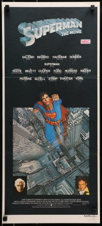 1r010 SUPERMAN Aust daybill 1978 great art of hero Christopher Reeve flying from Metropolis!