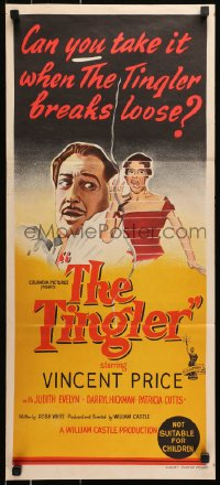 1r011 TINGLER Aust daybill 1959 Vincent Price, directed by William Castle, cool different art!