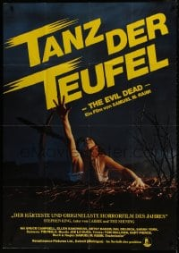 1r012 EVIL DEAD German 33x47 1984 Sam Raimi cult classic, classic image of girl grabbed by zombie!