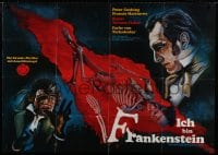 1r014 REVENGE OF FRANKENSTEIN German 33x47 R1972 Hammer horror, Peter Cushing, Berthold art!
