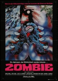 1r016 DAWN OF THE DEAD German 1979 George Romero, wild completely different psychedelic artwork!