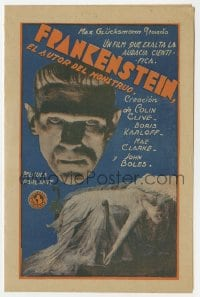 1r036 FRANKENSTEIN Uruguayan herald 1932 monster Boris Karloff c/u on cover, different & very rare!