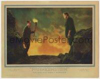1r146 FRANKENSTEIN LC 1931 best close up Colin Clive staring at Boris Karloff as the monster, rare!