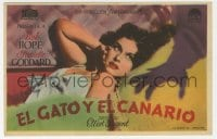 1r049 CAT & THE CANARY Spanish herald 1939 c/u of monster hand threatening sexy Paulette Goddard!