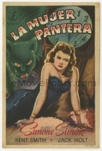 1r050 CAT PEOPLE Spanish herald 1947 Val Lewton, art of sexy Simone Simon by black panther!