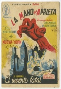 1r051 CLUTCHING HAND part 1 Spanish herald 1936 wacky horror sci-fi, different art of disembodied hand!