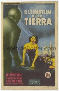 1r055 DAY THE EARTH STOOD STILL Spanish herald 1952 Soligo art of Patricia Neal cowering from Gort!