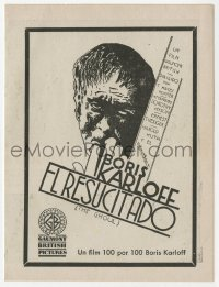 1r056 GHOUL Spanish herald 1933 art of Boris Karloff as the monster, incredibly rare horror title!