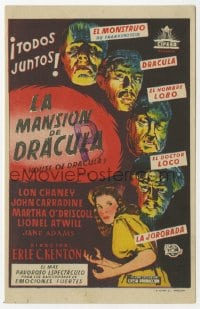 1r058 HOUSE OF DRACULA Spanish herald 1948 great art of classic monsters, Dracula & Frankenstein!