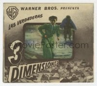 1r060 HOUSE OF WAX Spanish herald 1953 3-D, cool die-cut cover to create great 3D effect!