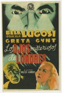 1r061 HUMAN MONSTER Spanish herald R1940s completely different art of Bela Lugosi, Edgar Wallace!