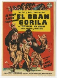 1r064 MIGHTY JOE YOUNG Spanish herald 1955 1st Harryhausen, art of ape rescuing girl from lions!