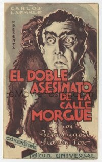 1r066 MURDERS IN THE RUE MORGUE Spanish herald 1932 different art of Bela Lugosi & ape, very rare!