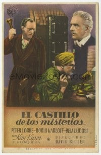 1r079 YOU'LL FIND OUT microphone style Spanish herald 1942 Boris Karloff, Lugosi & Kyser, different!