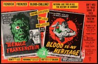 1r021 I WAS A TEENAGE FRANKENSTEIN/BLOOD OF DRACULA English trade ad 1958 AIP horror double-bill!