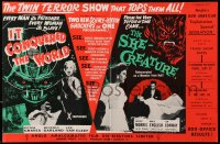 1r022 IT CONQUERED THE WORLD/SHE-CREATURE English trade ad 1956 twin terror show tops them all!