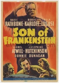 1r145 SON OF FRANKENSTEIN mini WC 1939 Boris Karloff, Basil Rathbone, Bela Lugosi, ultra rare!