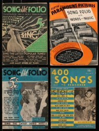 1s156 LOT OF 4 SONG FOLIO MAGAZINES 1930s-1940s Paramount Pictures, 400 Songs to Remember & more!