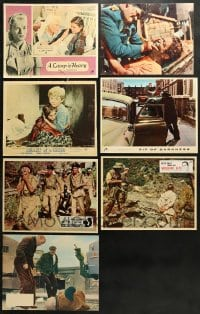 1s060 LOT OF 7 ENGLISH LOBBY CARDS 1960s-1970s great scenes from a variety of different movies!