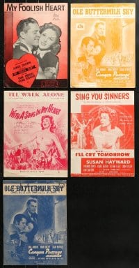 1s140 LOT OF 5 SUSAN HAYWARD MOVIE SHEET MUSIC 1930s-1950s great songs from her movies!