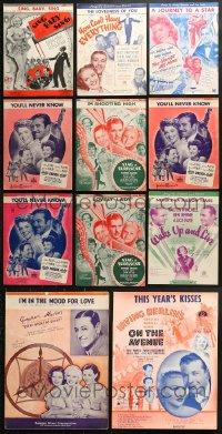 1s107 LOT OF 11 ALICE FAYE MOVIE SHEET MUSIC 1930s great songs from her movies!