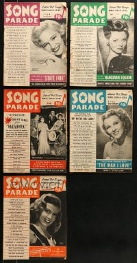 1s158 LOT OF 5 SONG PARADE MAGAZINES 1940s lyrics to a variety of different popular songs!