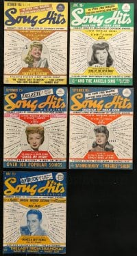 1s157 LOT OF 5 SONG HITS MAGAZINES 1940s lyrics to a variety of different popular songs!