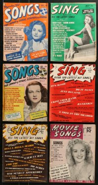 1s159 LOT OF 6 SONG MAGAZINES 1940s lyrics to a variety of different popular songs!