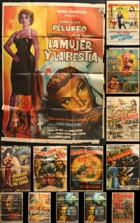 1s043 LOT OF 13 FOLDED MEXICAN POSTERS 1960s-1970s a variety of different movie images!