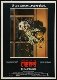 1t463 NIGHT OF THE CREEPS Belgian 1986 monster hand art by Bob Larkin, if you scream you're dead!